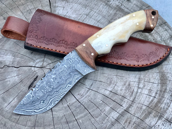 Raindrop Damascus Steel Hunting Skinning Knife