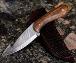 Damascus Steel Gut Hook Hunting Knife