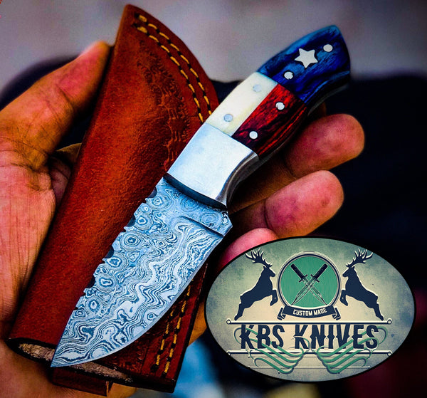 Texas Flag Handle Beautiful Custom Handmade Damascus Camp Hunting Skinning Knife , Bone and Exotic Wood Handle / With Leather Sheath