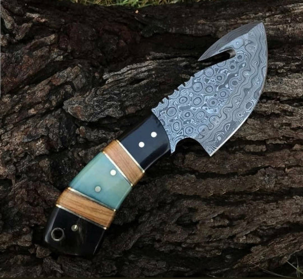 Damascus Steel Guthook Skinner Knife