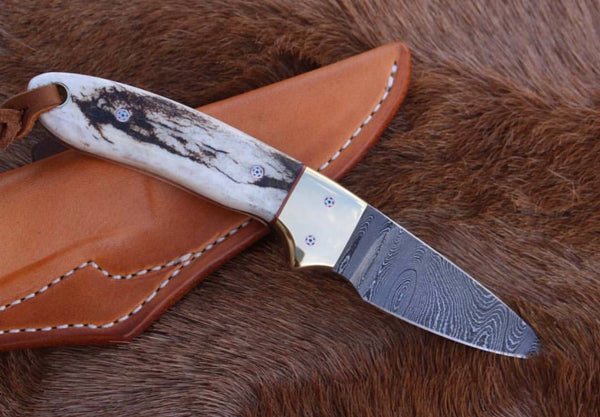 Damascus Steel California Coyote Cowboy Knife