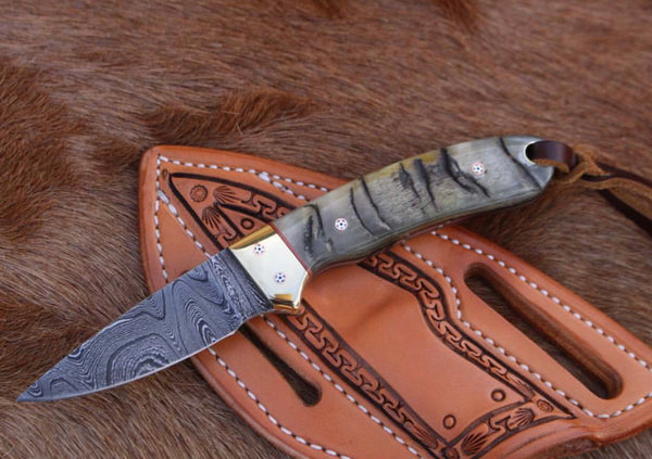 Damascus Steel California Coyote Model Cowboy Knife