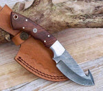 Damascus Steel Deer Guthook Skinning Knife