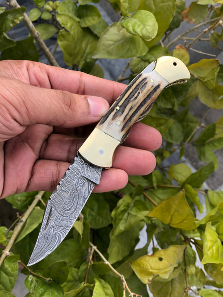 Antler Horn Damascus Folding Pocket Knife