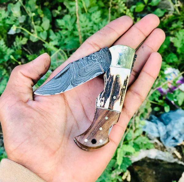 Custom Handmade Damascus Blade EDC Folding Pocket Knife