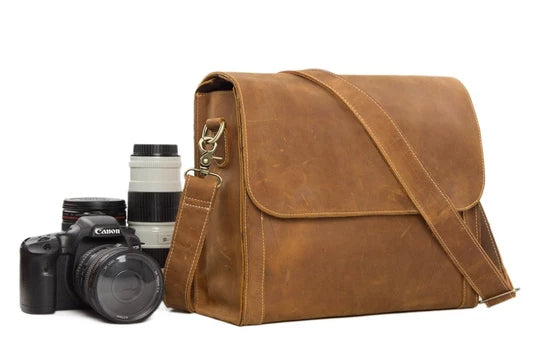 Light Brown Leather Camera Bag