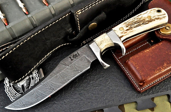 DAMASCUS HUNTER BOWIE KNIFE