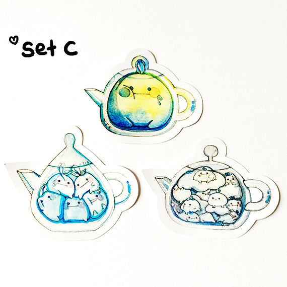 Set C Hi bud teapot vinyl sticker set x3