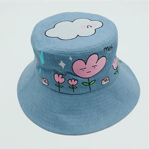 Spring rain denim bucket hat