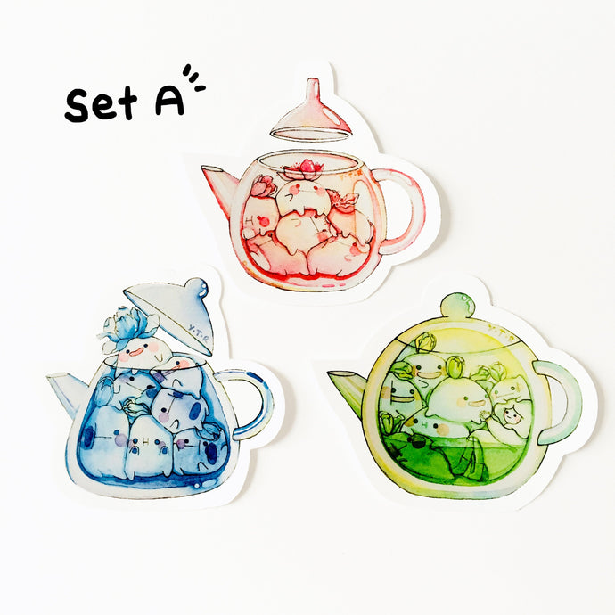 Set A Hi bud teapot vinyl sticker set x3