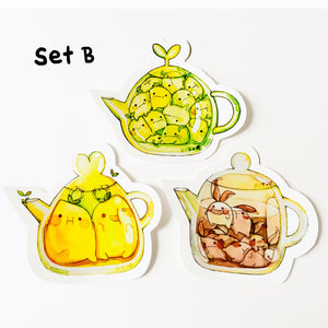 Set B Hi bud teapot vinyl sticker set x3