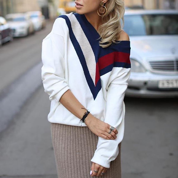 Classic v-neck loose-fitting long-sleeve matching color sweater