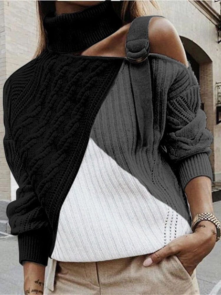 Fashion Pile Collar Off-shoulder Colorblock Knit Sweater