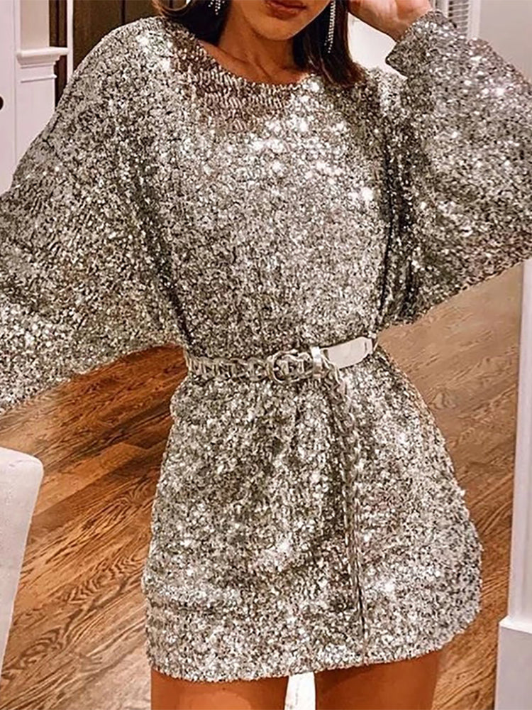 Sexy long-sleeved sequined dress