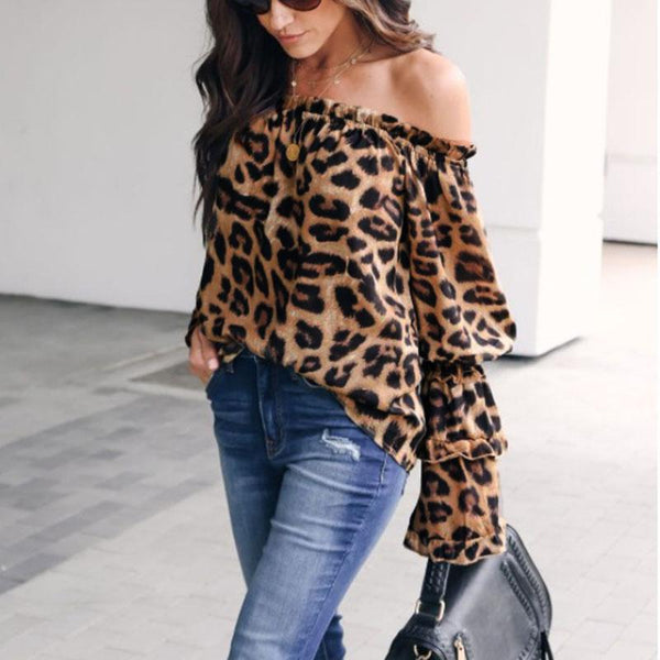Women's Brown Leopard Printed Off Shoulder Flare Long Bell Sleeve Sexy Blouses