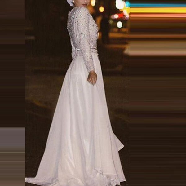 Elegant round neck long sleeve sequined dress