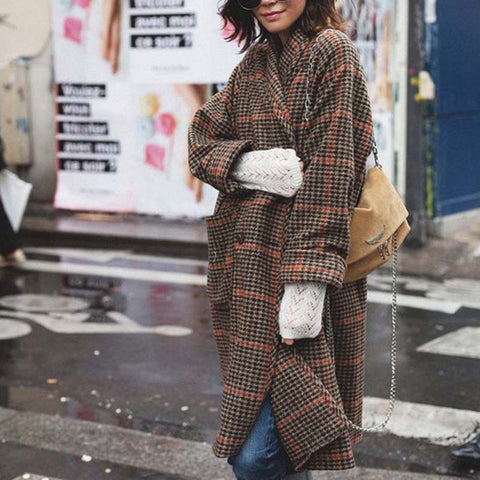 Classic Multicolour Check Long Sleeves Loose Midi Coat