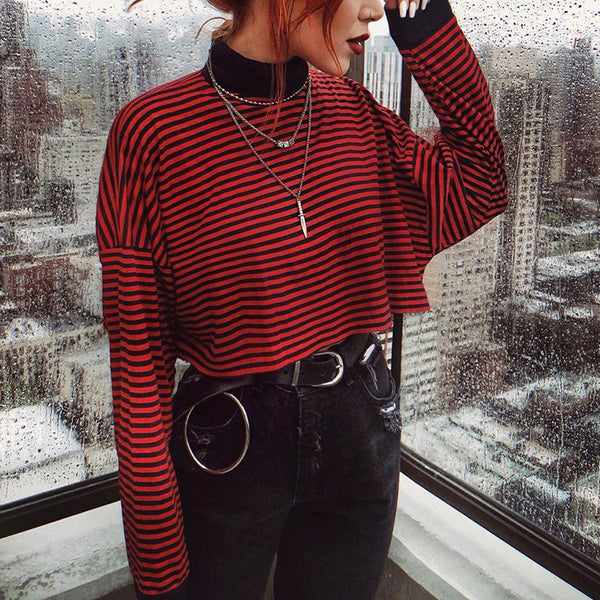 Casual personality striped short T-shirt
