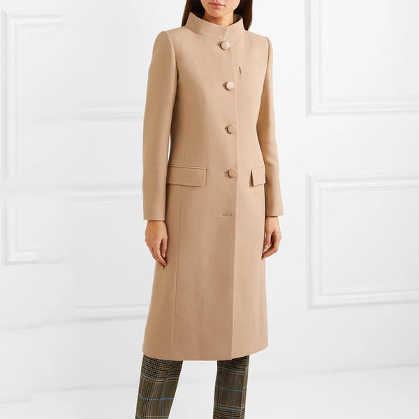 Temperament Khaki High Collar Commuter Overcoat
