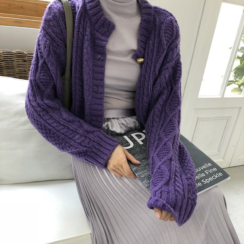 Women's Casual Round Neck Long Sleeve Pure Color Loose Sweater