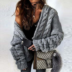 casual gray loose jacquard long sleeves sweater cardigan