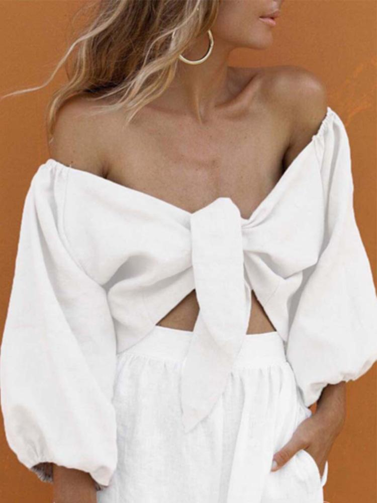 Sexy Deep V Collar Off Shoulder Plain Shirt