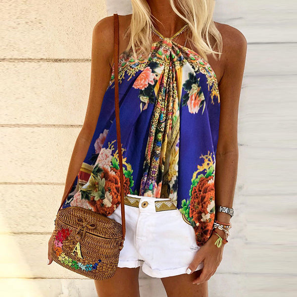 Fashion Printed Neck Lace Sleeveless Top