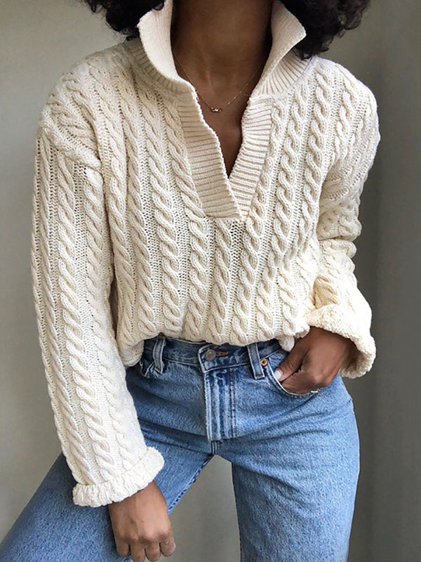 Casual Pure Color Band Collar Sweater