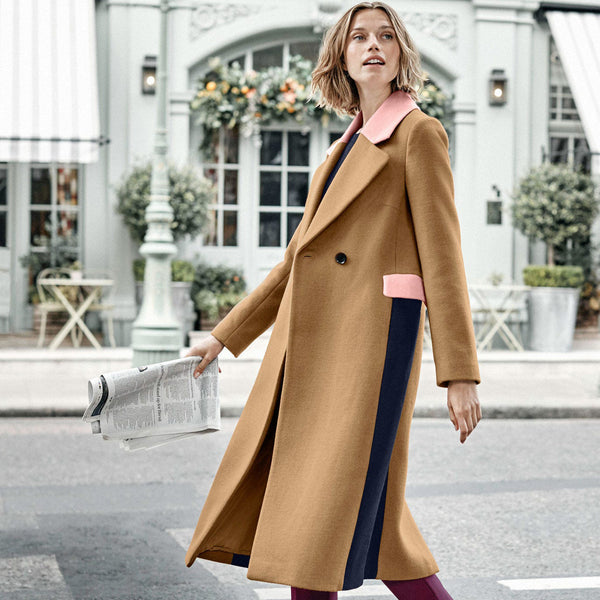 Long Sleeve Turndown Collar Coloring Mid-length Overcoat