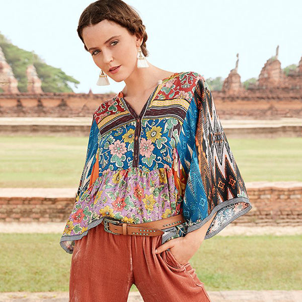 Bohemian Style V-Collar Printed Long-Sleeved Shirt