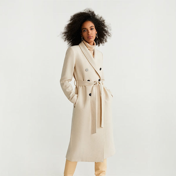 Fashion solid color ladies long coat