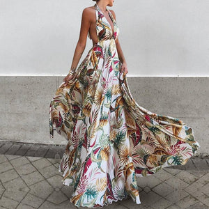 Sexy Deep V Collar Floral Printed Blinding Maxi Dress