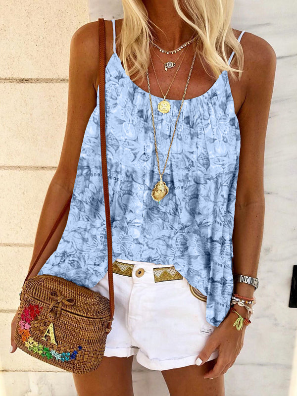 Boho Flower Print Sleeveless T-shirt