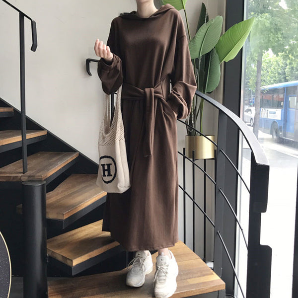 Women's Commuting Belted Hooded Pure Color Sweatshirt Dress
