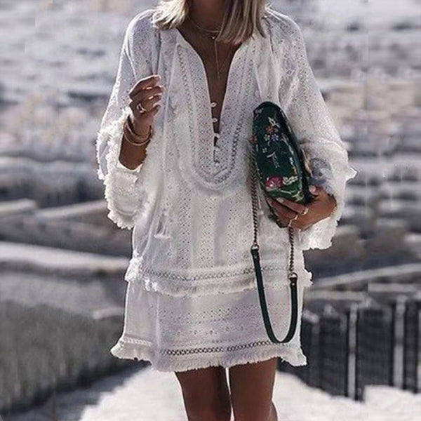 Pure Color Long Sleeved Tassel Lace Dress