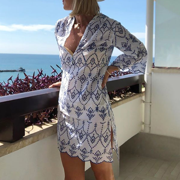 Casual V Neck Half Sleeve Printed Color Dress