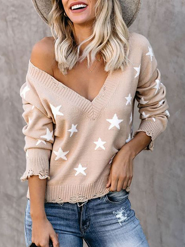 Women's Fashion V-neck Long Sleeve Top