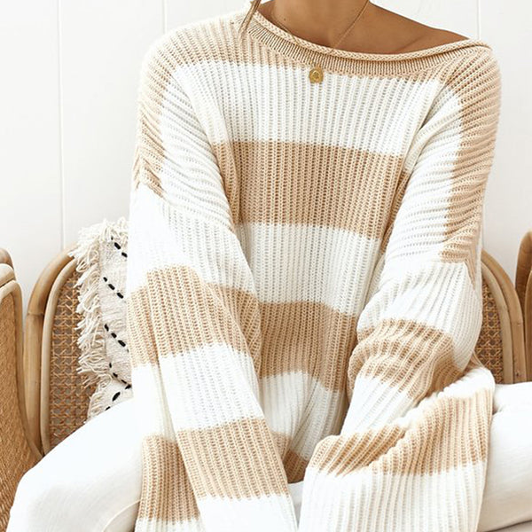 casual round neck loose striped colouring long sleeves sweater