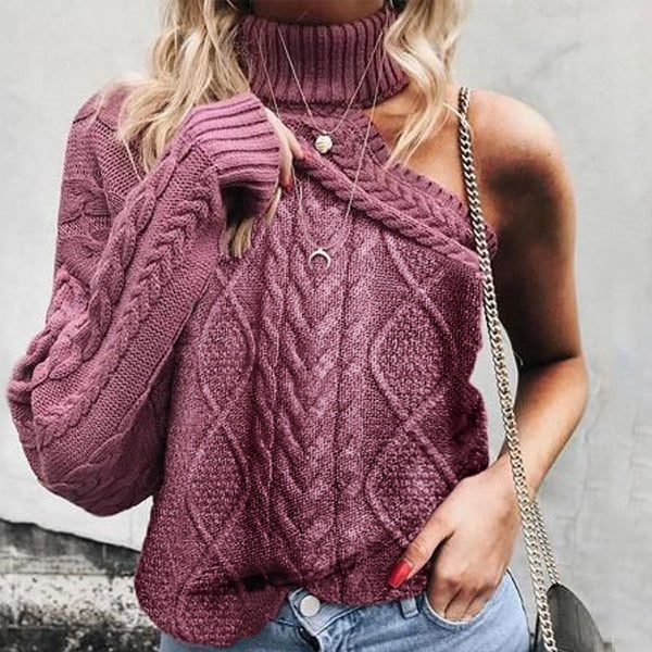 Solid color long sleeve off-the-shoulder sweater