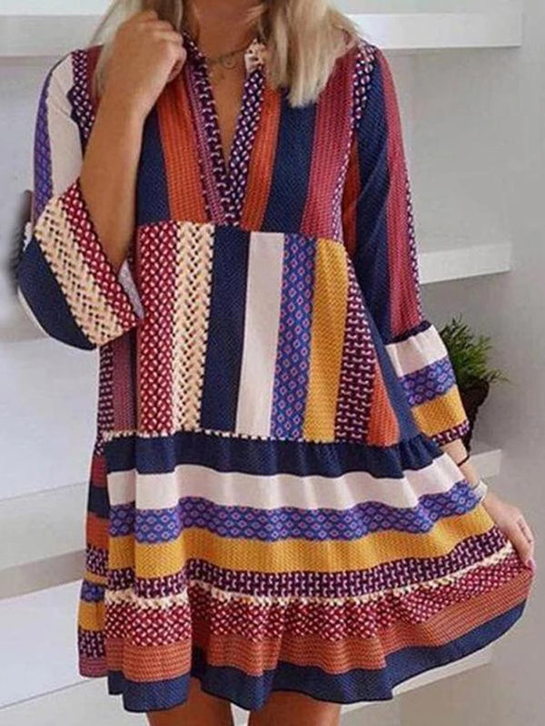 Scandinavian Multicolor Striped V-Neck Long Sleeve Dress