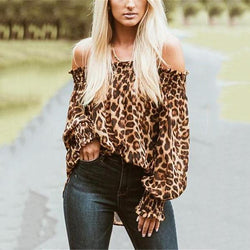 Sexy With A Leopard-Print On The Shoulders Blouse