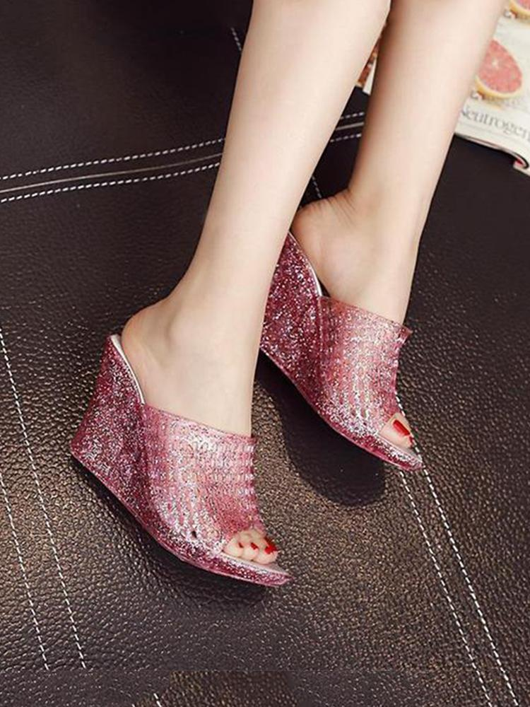 Casual Crystal Transparent Wedge Slipper