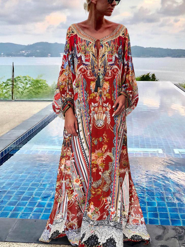Casual Round Neck Long Sleeve Floral Printed Maxi Dress