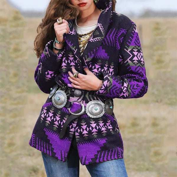 Casual Lady Geometric Tops Wool Short Jacket