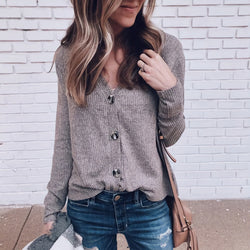 Casual V-neck Button Long-sleeved Sweater