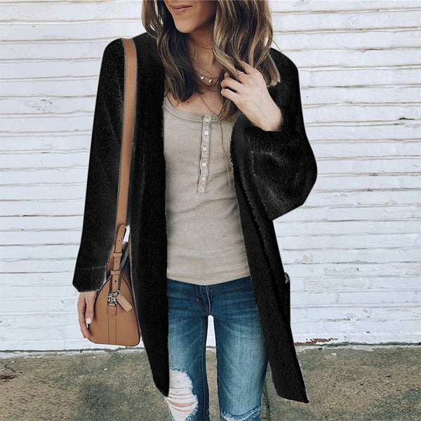 Loose Long Sleeve Pocket Cardigan Casual Long Plush Coat