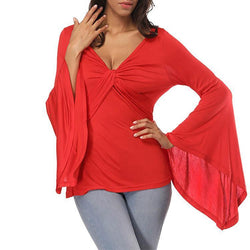Sexy V-Neck Pure Color Flare Sleeve Shirt