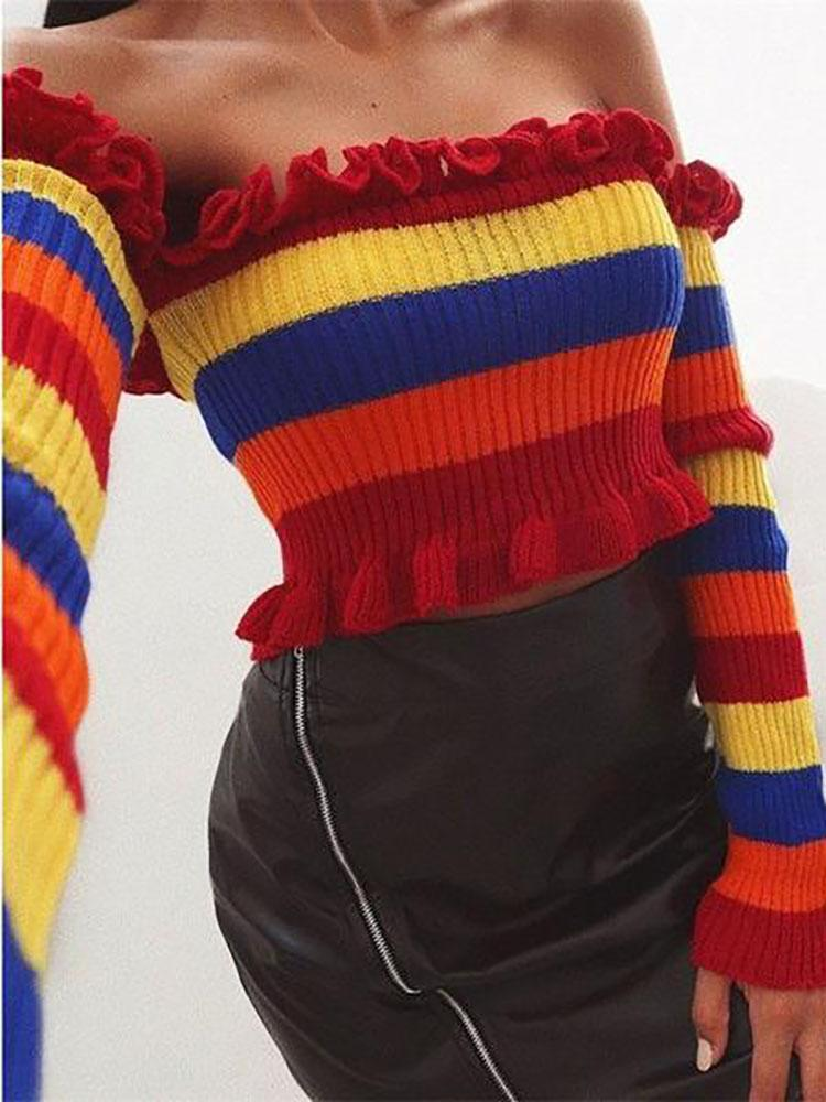 Fashion Multicolor Stripe Lace Sweaters