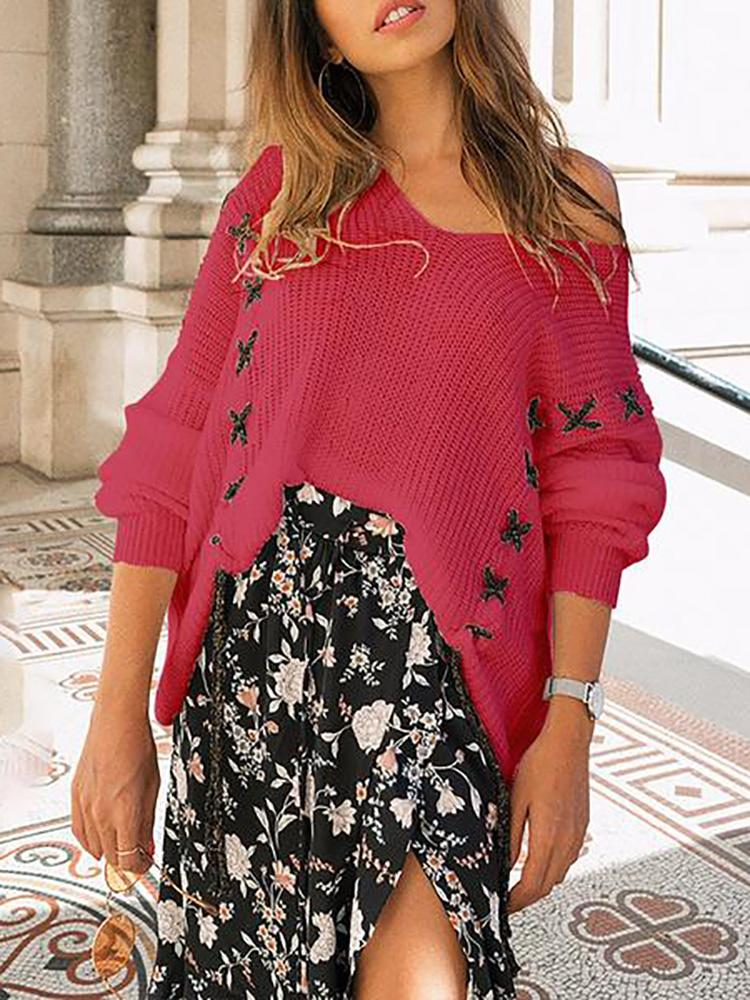 V Neck Long Sleeve Loose Lace Knit Tops Sweater