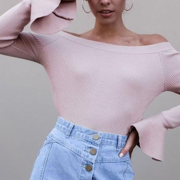 Sexy One Shoulder Plain Long Sleeves T-Shirt